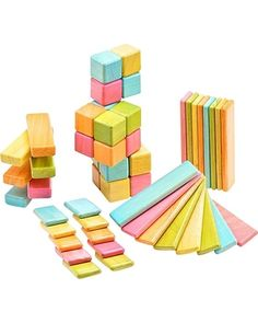 These #toy blocks are rock solid. Magnets hidden in each brightly-colored brick will keep your toddler's creations strong despite any sways that come their way. Click above to buy the 52-piece set.