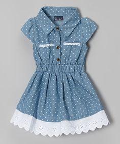Look at this Sweet & Soft Light Blue Denim Polka Dot Dress - Infant & Toddler by Sweet & Soft Kids Frocks, Frocks For Girls, Little Dresses, Little Girl Dresses, Girls Dresses, Baby Dresses, Baby Girl Fashion, Fashion Kids, Frock Design