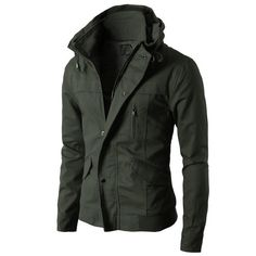 Mens High neck Field Jackets without Hood KMOJA024 from Doublju. Saved to Epic Wishlist. #want.