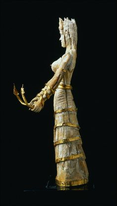 Snake Goddess, wood and gold Snake Goddess,faience, glass, gold, and wood faience : earthenware decorated with opaque colored glazes