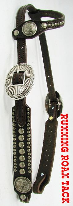 TEMPORARILY OUT OF STOCK! Chocolate Headstall with Antique Silver Indian Chief Conchos by Running Roan Tack