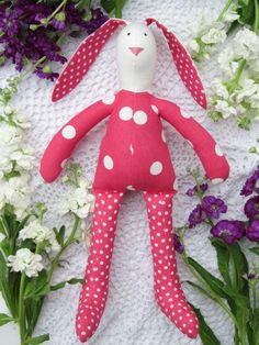 Easter bunny rabbit doll hot pink white polka by HappyDollsByLesya