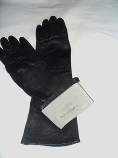 Soft Leather-Silk Lined Long Black Gloves-Sz 7 Wm H. Block-Made in France