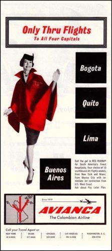 Avianca Airlines Original Vintage Print Ad Stewardess in Red Cape Vintage Airline, Vintage Luggage, Vintage Ads, Vintage Prints, Air India, Old Advertisements, Old Ads, Flight Attendant, Print Ads