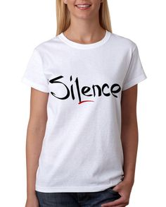 Silence t-shirt print Red black t Custom by StarForgeDesign