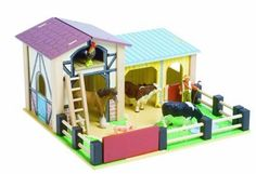 $59.99-$59.99 Baby Wooden Le Toy Barnyard Farm and Barn Set - This wooden machinery barn has a hay loft, and a small animal shed with hinged door. Complete on baseboard with fences.  Fully painted and decorated.  Compatible with papo animals and figures (Safari & Schleich Ltd. farm figures work too) sold separately. http://www.amazon.com/dp/B0006282OS/?tag=pin2baby-20