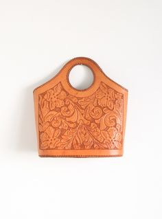 Vintage 1970's Tooled Leather Tote Bag