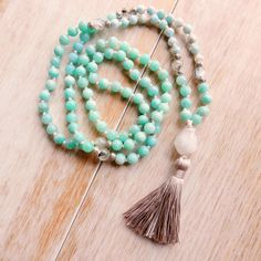 Let Go & Flow Mala Beads - Amazonite Mala Necklace/Larimar Mala/Mala Beads 108/Mala Bead Necklace/Beaded Necklace/Tassel Necklace by seedofintention on Etsy
