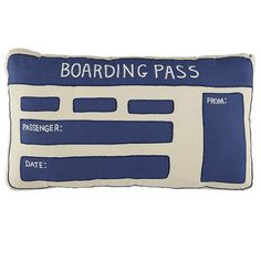 Boarding Pass pillow $39