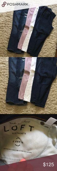 Lot of LOFT petite denim Lot of LOFT petite denim   SIX PAIRS OF LOFT DENIM IN PERFECT CONDITION. I've gone down a few sizes and these no longer work for me. LOFT Pants Skinny