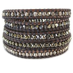 #saucy Chan Luu Stone Pyrite Mix Antique Silver Indian Beads Natural Grey Leather Wrap Bracelet BS-3845