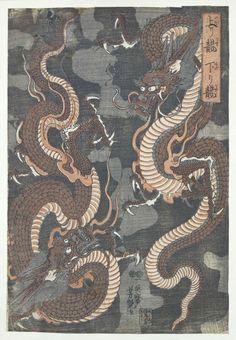 Twee draken, Utagawa Yoshitsuya, , 1843 - 1847