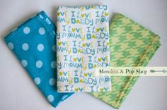 Flannel Baby Burp Cloth Gift Set Of 3 // I Love My Mommy, I Love My Daddy, Blue Polka Dots, Green Houndstooth by Momista & Pop Shop