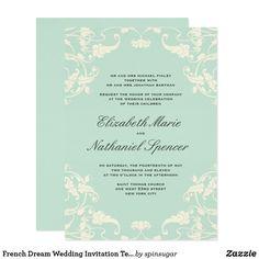 French Dream Wedding Invitation Teal