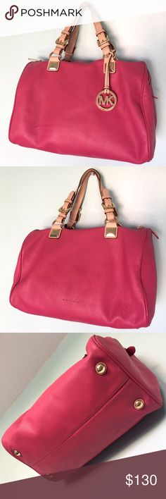 Michael Kors Large Leather Pink Gold Tote Handbag Spring Summer MK Large Leather Pink Tan Gold Tote Handbag Purse. In great condition, only a few minor scuffs. Gorgeous! 💕 MICHAEL Michael Kors Bags Totes