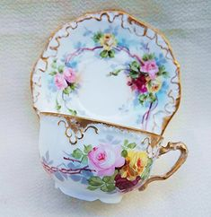 "Exquisite A.K. France Limoges Vintage 1890's Hand Painted ""Red, Pink, & Yellow Roses"" Floral Cup & Saucer, by Artist, ""F. Gruenwald"""