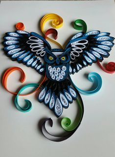 Quilled owl. Measure A4 size. Can be framed in 8.5×11 frame for additional charges.