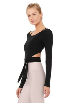 Cozy extra-long sleeves Ultra lightweight Tie detail at waist Fine sweater knit Model is wearing a size S Cute Workout Outfits, Cute Outfits, Gym Outfits, Fitness Outfits, Workout Attire, White Long Sleeve, Long Sleeve Tops, Barre Clothes, Ballet Workout Clothes