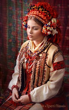 Eastern Europe | Portrait of a girl wearing traditional clothes and headdress, a bavnytsia, Ukraine #beads #embroidery