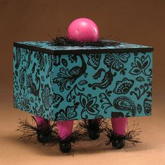 Box Turquoise Handmade Wood Rubber Stamped by TattooDreams on Etsy, $55.00