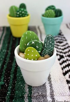 Not a real plant, but oh so decorative - make your own stone-cactus and pretend that you have real cactuses at home.