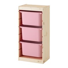 TROFAST Storage combination with boxes - pine light white stained pine white, orange - IKEA