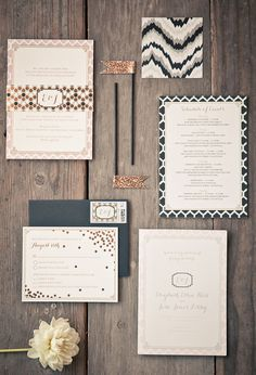 confetti and honey comb pattern wedding invitaions