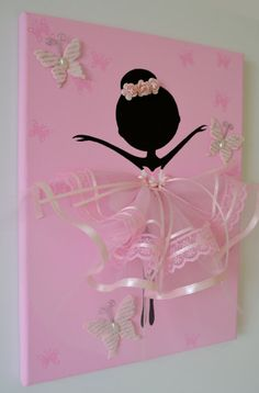 Dancing Ballerina with Butterflies handmade canvas. This wall art canvas is 9 X 10. The background, butterflies and ballerina is hand painted with acrylic paint. Dancer is decorated with tulle dress, lace, silk ribbons, crafted butterflies and rozes.