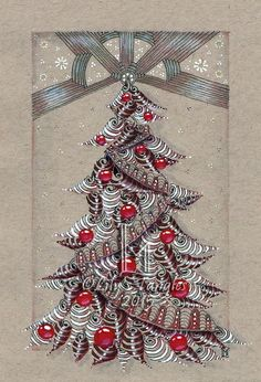 Christmas Card by LilysTangles - Drawn with black, sepia, blue and brown ink on tan paper. Shading is created with pencil. Colored with Derwent Inktense pencils.