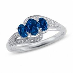 #Valentines #AdoreWe #Zales - #Zales 10K White Gold Oval Lab-Created Blue Sapphire Three Stone Ring with Diamond Accents - AdoreWe.com