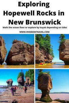 Exploring Hopewell Rocks in New Brunswick on foot and by kayak depending on the Bay of Fundy tides Visit Canada, O Canada, Canada Travel, Canoeing, Kayaking, Hopewell Rocks, Atlantic Canada, Canoe And Kayak, New Brunswick