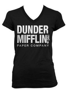 (Cybertela) Dunder Mifflin Inc Paper Company Junior Girls V-neck T-shirt Funny Tee