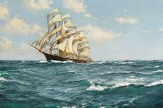 Montague Dawson R.S.M.A., F.R.S.A. 1895-1973 BRITISH PACIFIC DAYS, THE SHUN LEE, 674 TONS, BUILT IN 1866 signed Montague Dawson (lower left) oil on canvas 28 by 42 in. 71.1 by 106.6 cm
