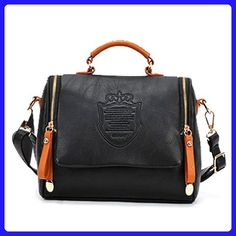 Gaorui women retro bag European and American tote vintage Shoulder Messenger handbag_Black - Shoulder bags (*Amazon Partner-Link)