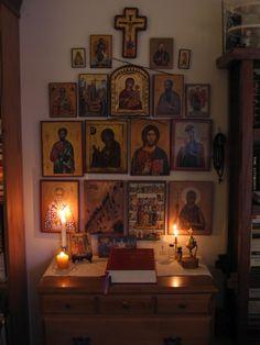 A very special personal space, to pray and draw close to God. Meditation Altar, Meditation Space, Religious Icons, Religious Art, Orthodox Prayers, Orthodox Christianity, Catholic Altar, Prayer Corner, Home Altar
