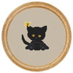 Cross Stitch Pattern PDF black cat and от HappyStitches4You, $5.00