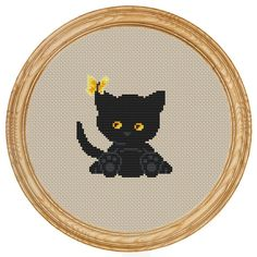 Cross Stitch Pattern PDF black cat and butterfly