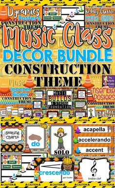Construct the perfect construction themed music room with this HUGE bundle of music decorations. This theme is bright and colorful and your students are sure to love it. Bulletin board, word wall, teacher binder and MORE included. Music Classroom, Classroom Decor, School Classroom, Classroom Organization, Kindergarten Music, Preschool Music, Elementary Music, Upper Elementary, Sixth Grade