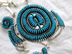 https://flic.kr/p/8q334M | Edith Tsabetsaye | Edith Tsabetsaye turquoise needlepoint bracelet, signature swirl style.