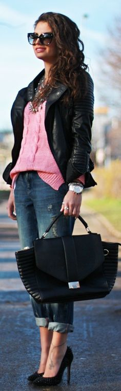 CASUAL[spring]: damage cuffed jeans; pink sweater; black leather jacket; pumps