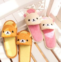 Rilakkuma Open Toe Short Mini Miniature Plush Slippers from Elena's House on Storenvy - with Kawaii Face. Rilakkuma, Looks Kawaii, Kawaii Cute, Kawaii Shoes, Kawaii Clothes, Cute Slippers, Kawaii Room, Line Friends, All Things Cute
