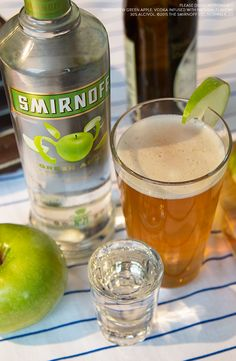Baseball season is almost over. If you want to add a little kick to your regular beer game before the Series.Try this loaded beer, with a delicious apple drop shot.