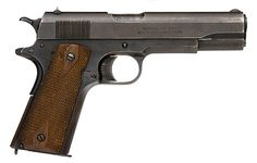 1911 Colt - designed by John Browning for Colt. The 1911 was originally chambered in .25 ACP, and was the standard issue side arm of the U.S. military for almost 75 years.