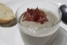 El mandilón de mamá: Crema de setas con crujiente de jamón