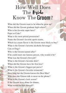 How Well Does The Bride Know The Groom? Bridal Shower Game. DIY Your own on Canva.com