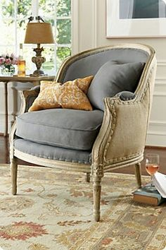 Petit Salon Chair from Soft Surroundings would love to have 2 for family room. Poltrona Bergere, Bergere Chair, Home Interior, Interior Design, Salon Chairs, French Chairs, French Armchair, New Living Room, French Decor