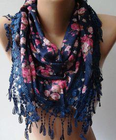 Dark Blue  flowered  Elegance  Shawl / Scarf with Lacy by womann, $19.00