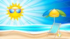 Summer holiday in seashore.Summer concept poster with beach chair and parasol, vector illustration Included files: . Vector Illustrations, Graphic Illustration, Beach Chairs, Pikachu, Concept, Creative, Outdoor Decor, Holiday, Summer