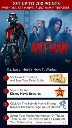 Earn up to 200 points when you see Marvel's Ant-Man in theaters!