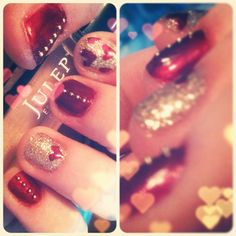 Pretty Perfect Polish - Valentines Nails with studs ;)